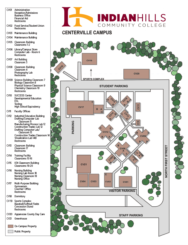 Illinois College Campus Map.Indian Hills Community College Centerville Campus