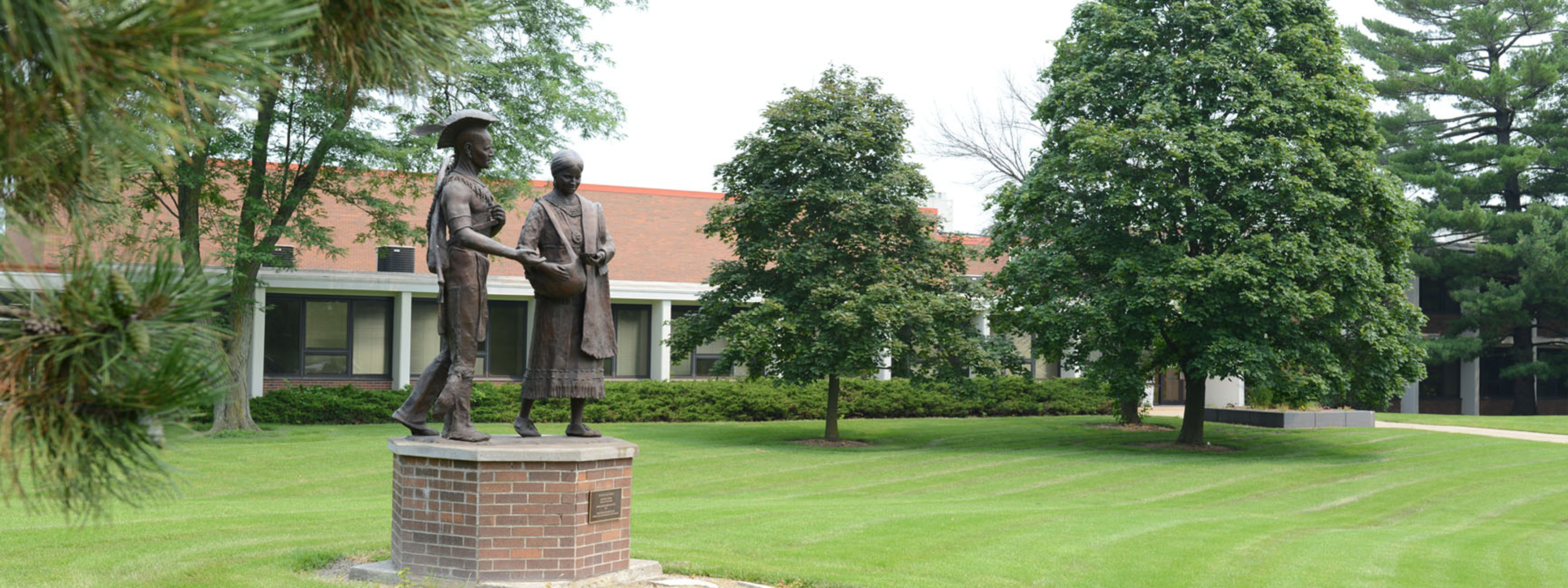 Exterior Main Campus, Indian Statues