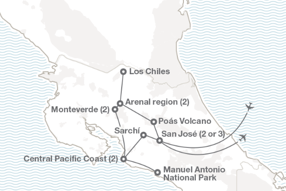 Map of the 2020 trip to Costa Rica