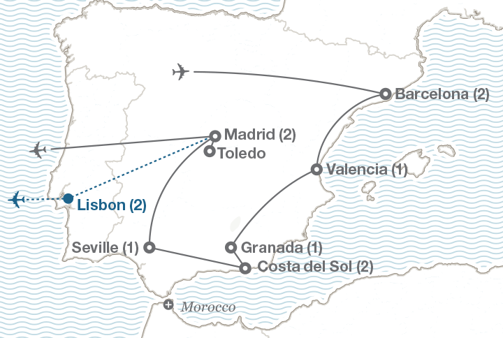 Ef Tours: Spain Map