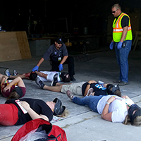 Indian Hills students involved in mock mass casualty drill Indian Hills Emergency Medical Services (EMS) students and public service units from Wapello and Mahaska counties recently participated in a mock mass casualty drill at Eddyville-Blakesburg-Fremont High School. The scenario was a shooting in which two gunmen opened fire in the school. Law enforcement and medical personnel responded to neutralize the gunmen and evacuate the wounded to be treated and transported to nearby hospitals.