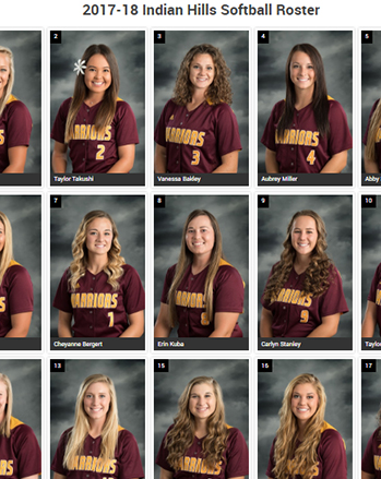 IHCC Softball Roster 2017-18