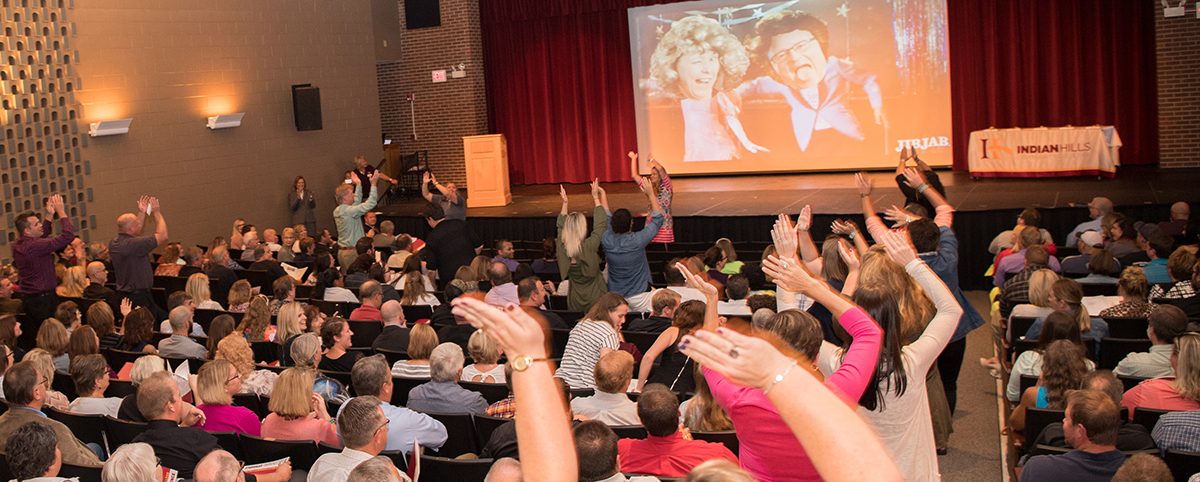 Staff Workshop Day - Faculty/Staff Dancing in St. John Auditorium Flash Mob.